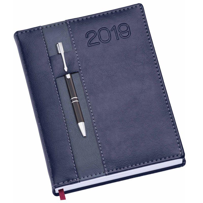 Agenda Strip Couro 2019 - Com Porta-Caneta - Ref. 0014180