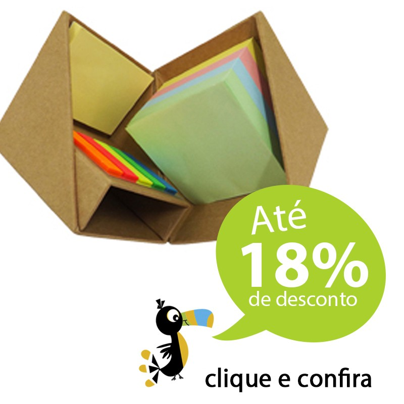 Bloco Cubo Kraft com Post-it - Ref. 0019052