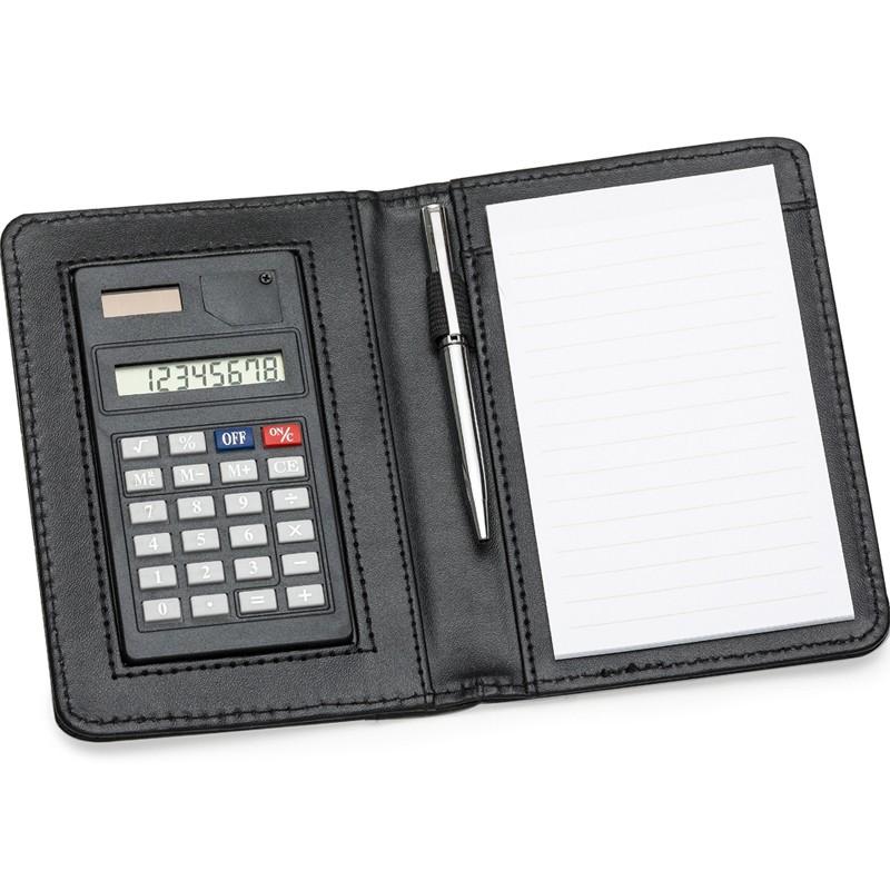 Calculadora com Capa de Couro e Bloco de Notas e Caneta - Ref.0019004