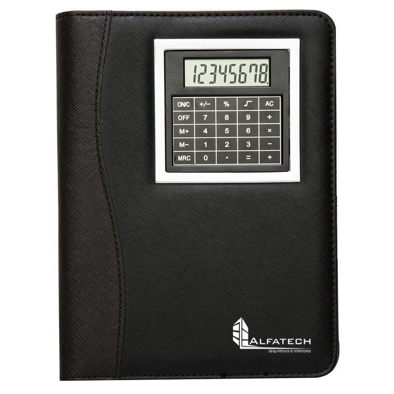 Bloco de Anotações em Couro sintético com Calculadora - Ref.0019130