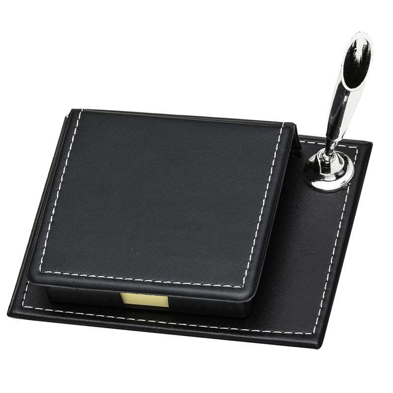 Bloco de anotações em couro sintético e suporte para caneta - Ref. 0019140