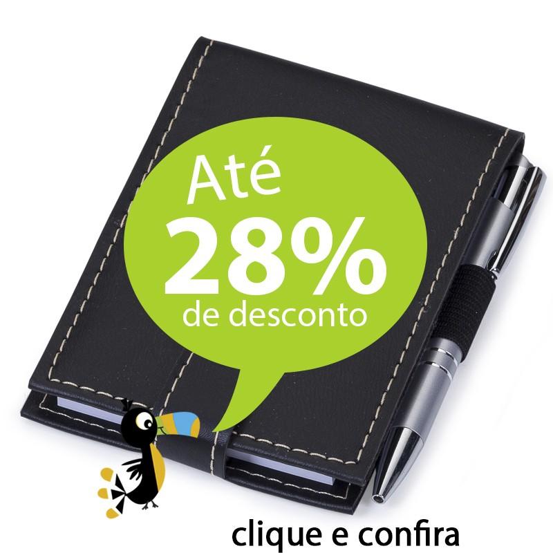Bloco de Notas Bidins Couro e Caneta - Ref.0019062