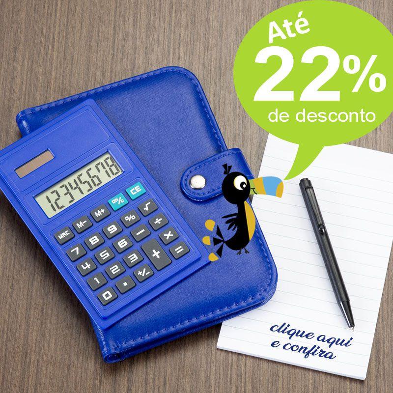 Bloco de Notas Couro e Calculadora - Ref.0019066