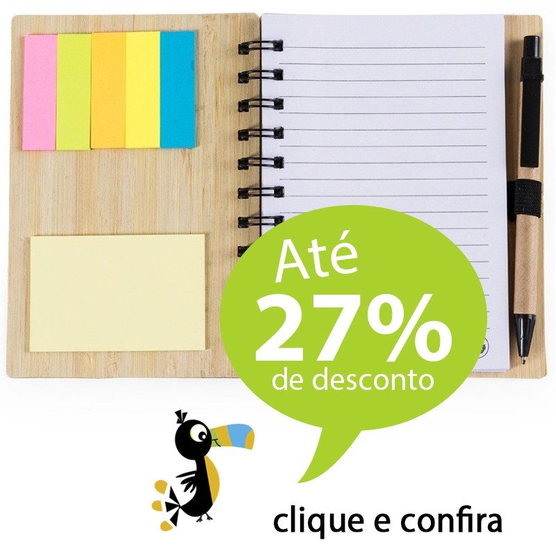 Bloco Ecológico Bambu com Caneta e Post-It - Ref.0019115