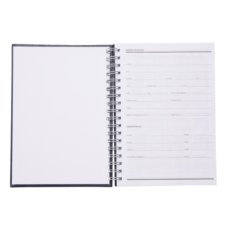 Caderno com capa de couro sintético texturizado e espiral prata metálico. Ref.0019065