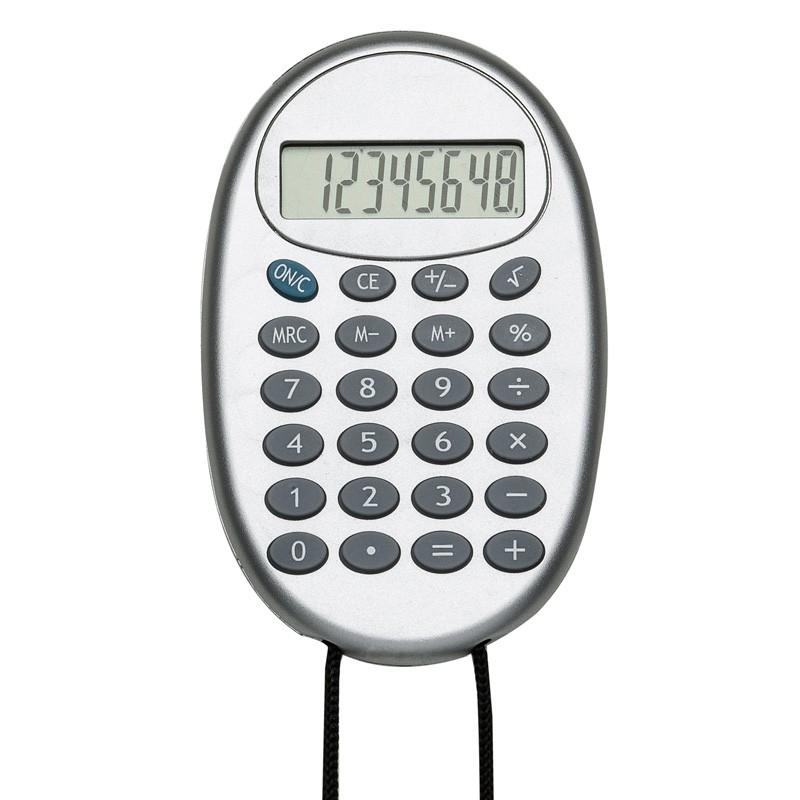Calculadora plástica oval prata com cordão - Ref.0019210