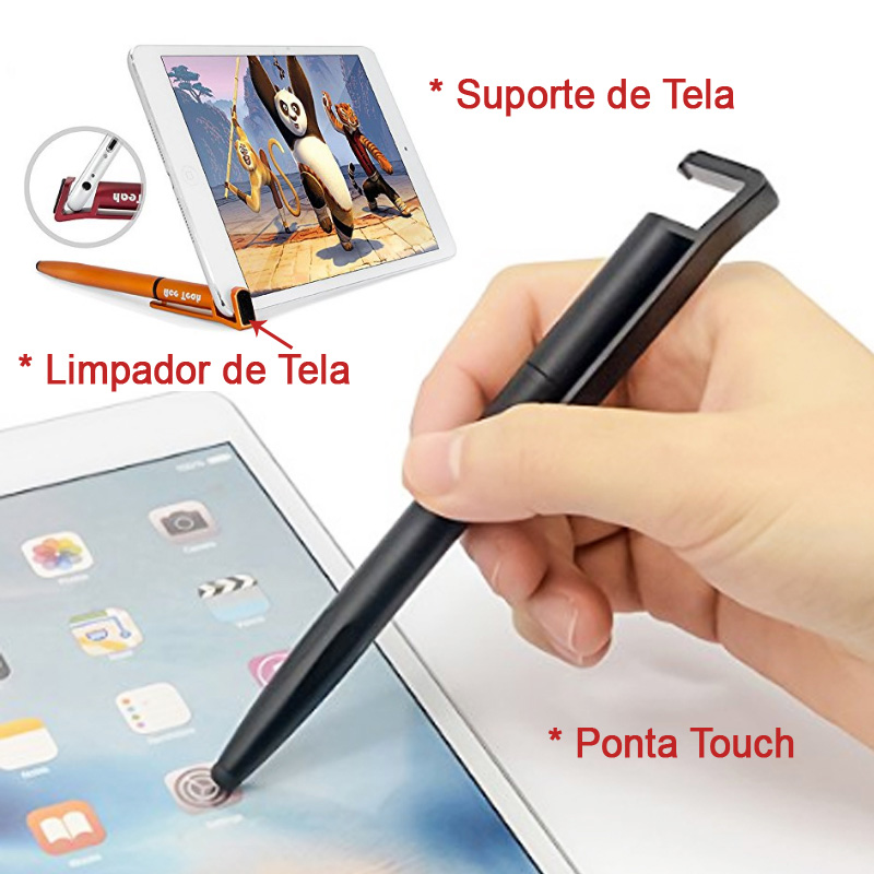 4 em 1, Caneta Porta Celular, Touch, Limpador e Caneta - Ref.0028040 - A partir de