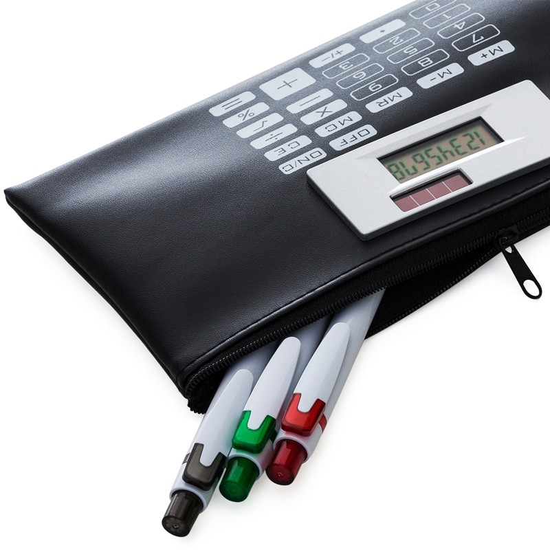 Carteira couro sintético com calculadora solar 8 dígitos - Ref.0019220