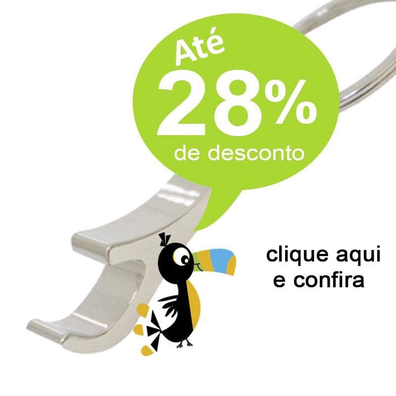 Chaveiro Abridor Metal Curvo Detalhe Couro - Ref.0044060