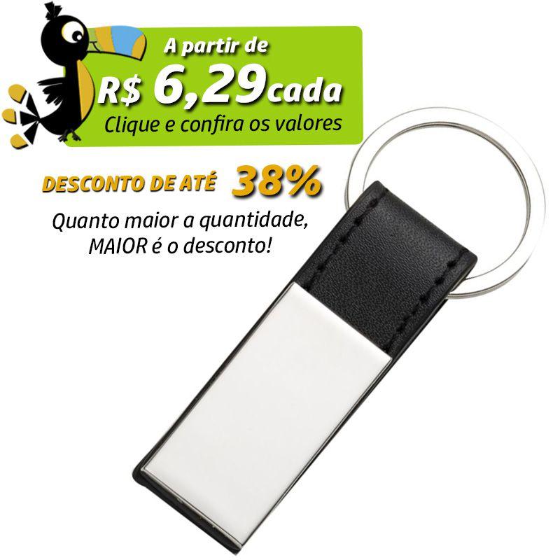 Chaveiro Chapa Metal e Couro - Ref.0044047