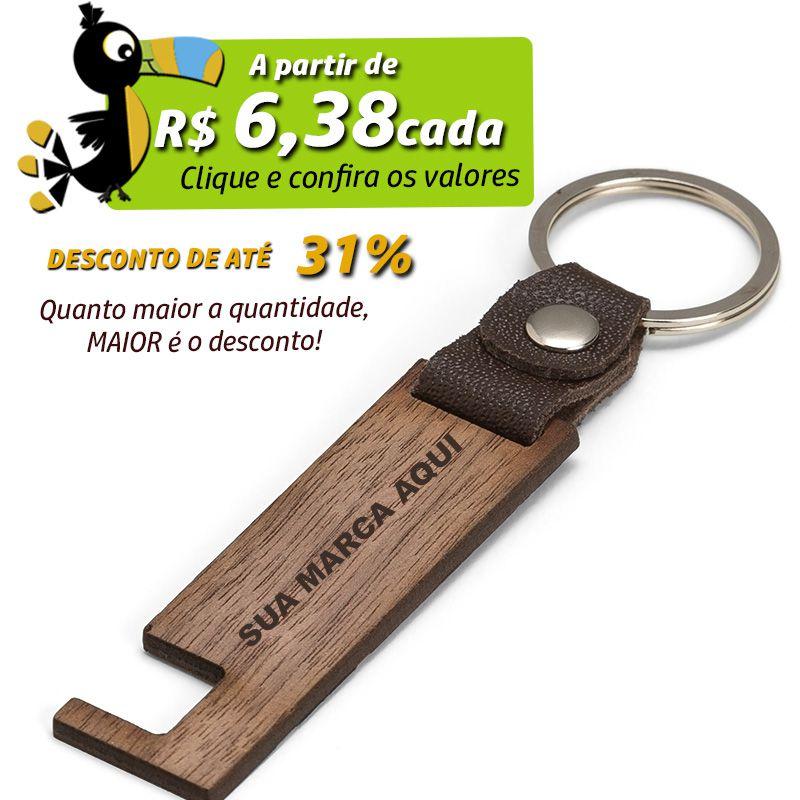 Chaveiro de Madeira Porta Celular  - Ref.0044121