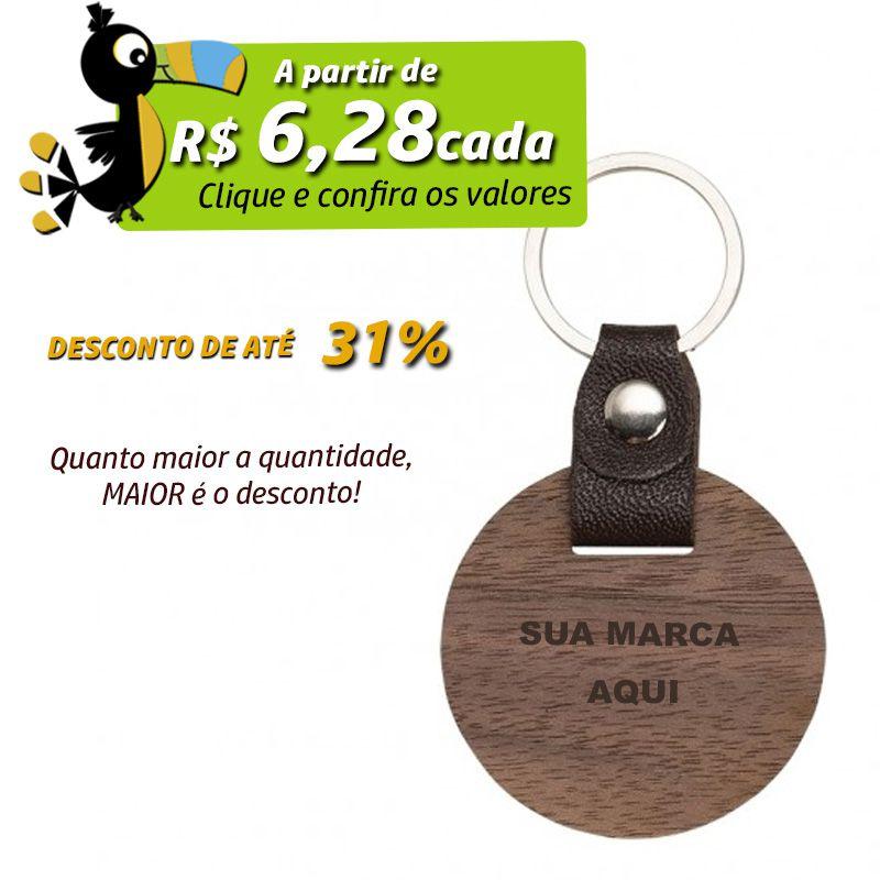 Chaveiro de Madeira Redondo  - Ref.0044122
