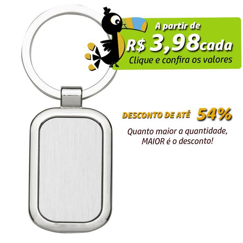 Chaveiro de Metal Retangular - Ref.0044029