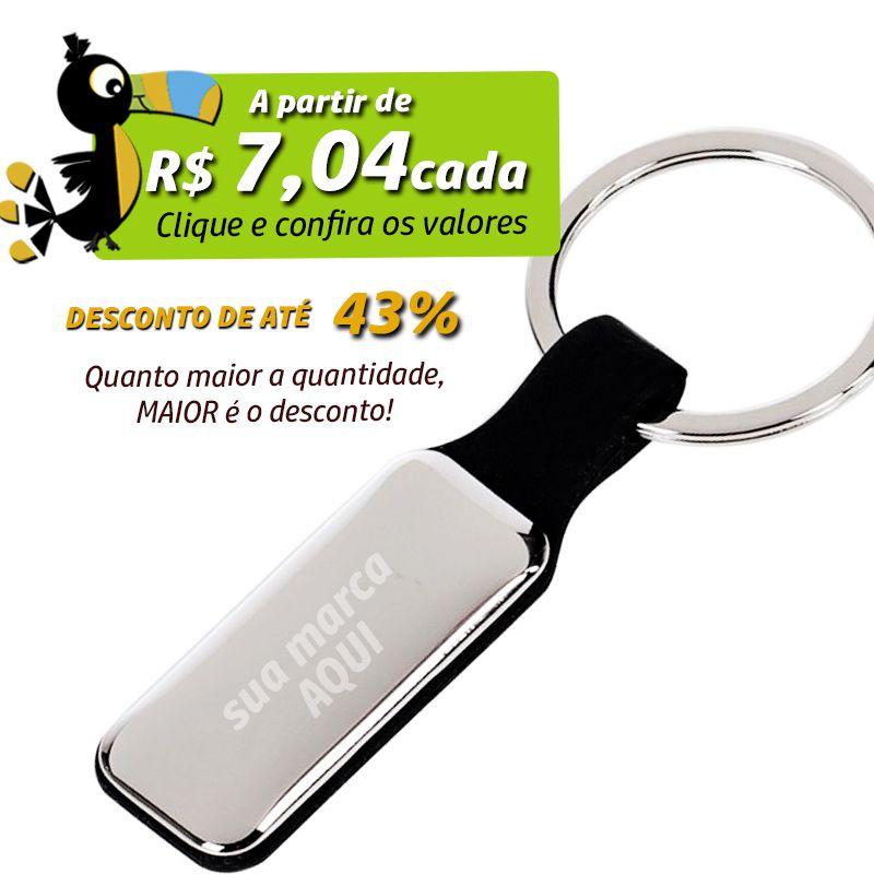 Chaveiro Espelhado Alça Borracha  - Ref.0044025