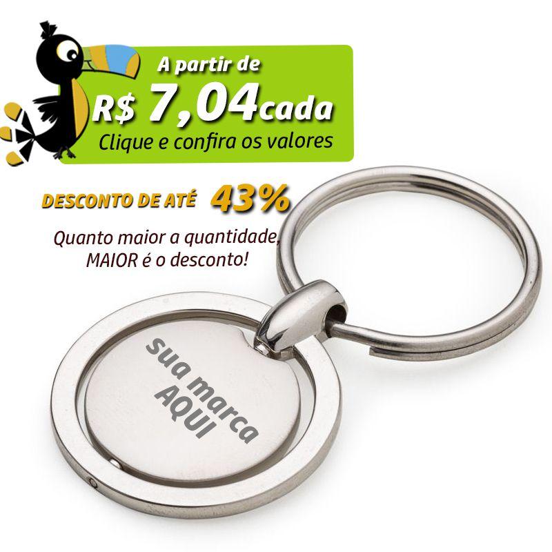 Chaveiro Giratório Chapa Fosca Metal  - Ref.0044014