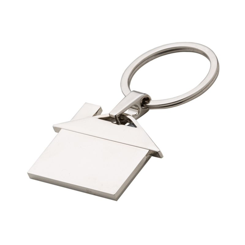 Chaveiro metal brilhante formato casa - Ref.0044115