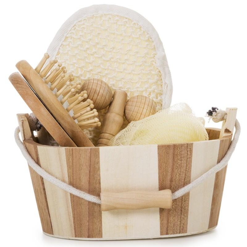 Kit Banho de madeira com 5 Peças Ref.0014077