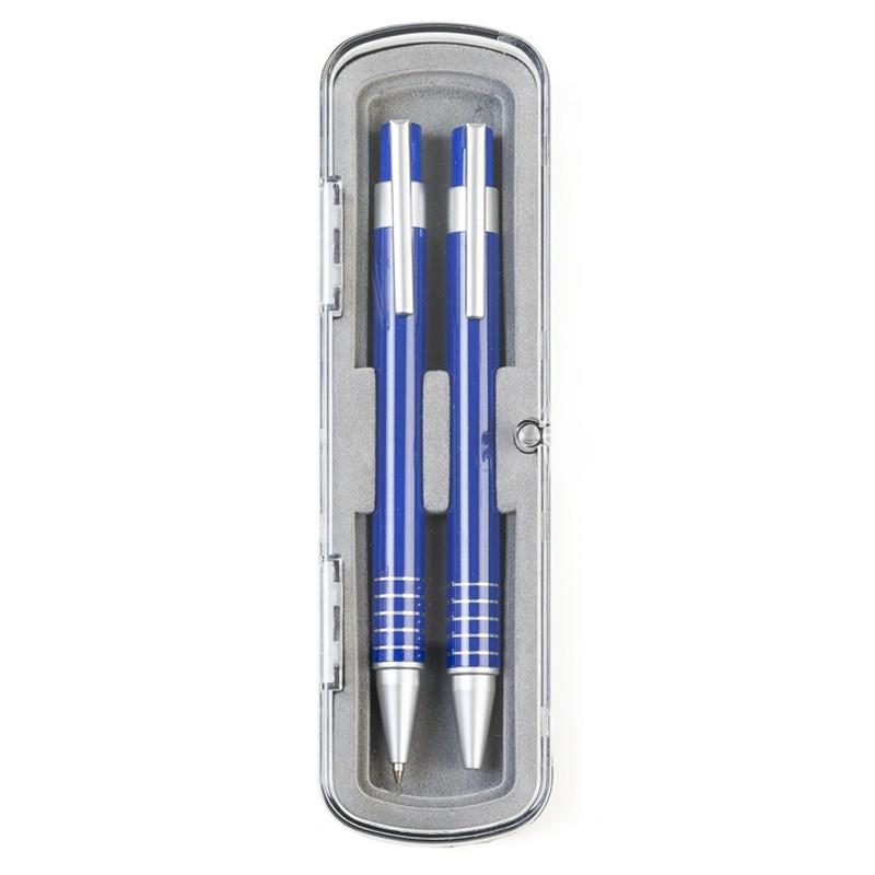 Kit caneta e lapiseira metal em estojo de acrílico - Ref.0029145