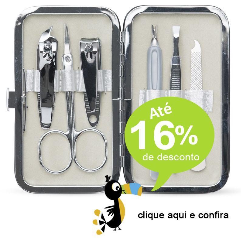 Kit Manicure 6 peças Estojo Couro - Ref.0014920
