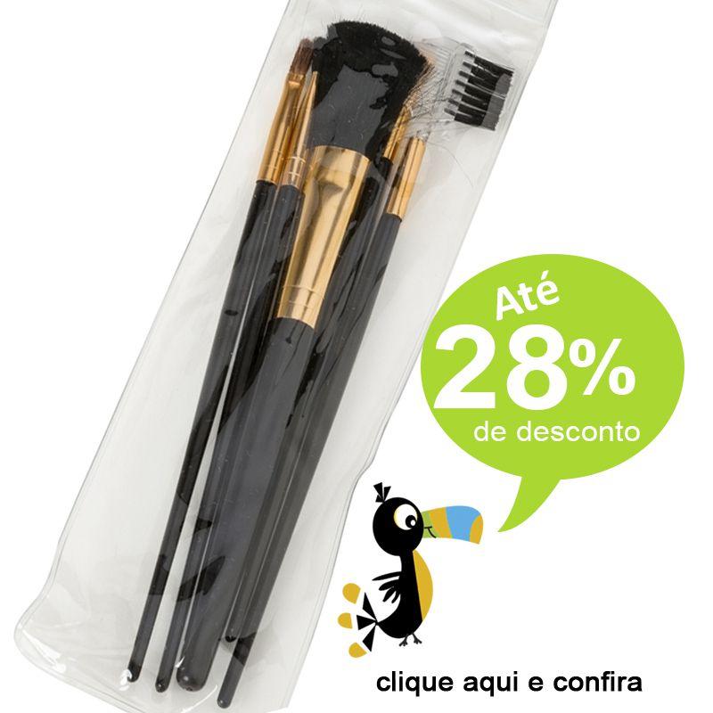 Kit Pincel Preto e Dourado 5 peças - Ref.0014912