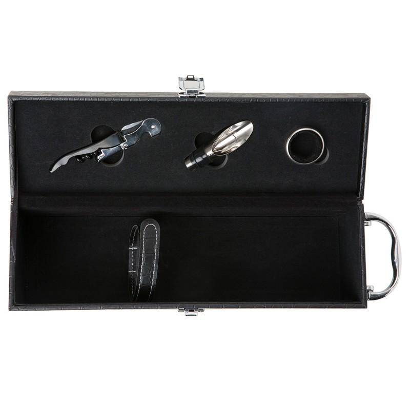 Kit Vinho 3 peças na maleta de couro sintético texturizado - Ref.0026005