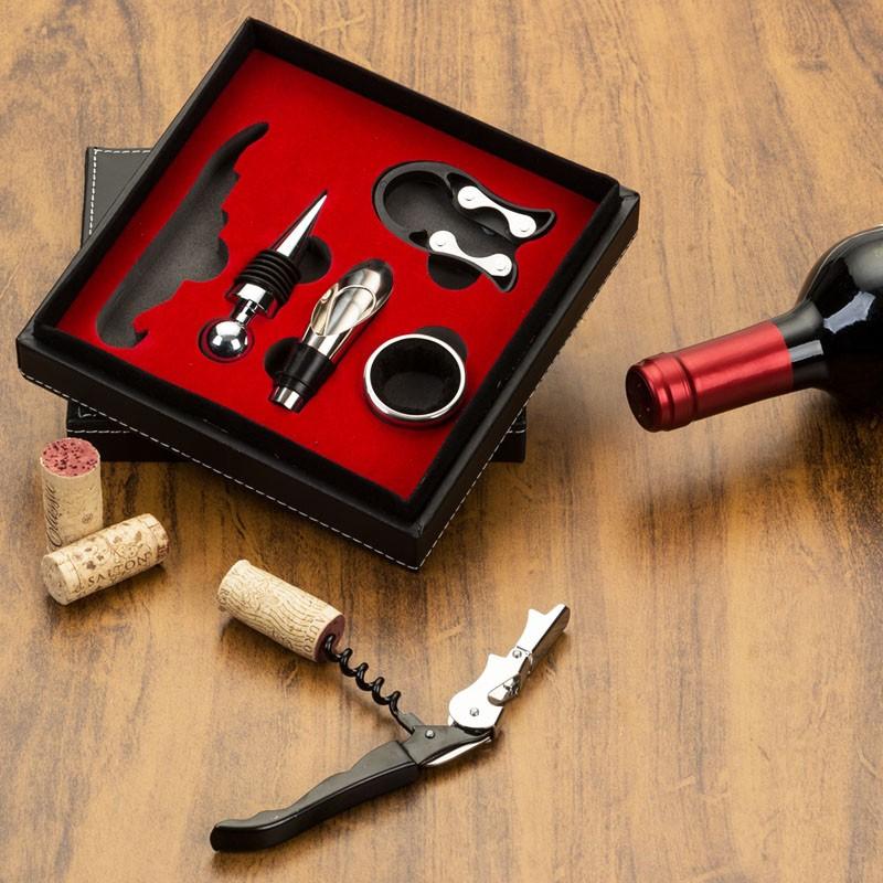 Kit Vinho 5 peças em estojo de couro sintético - Ref.0026100