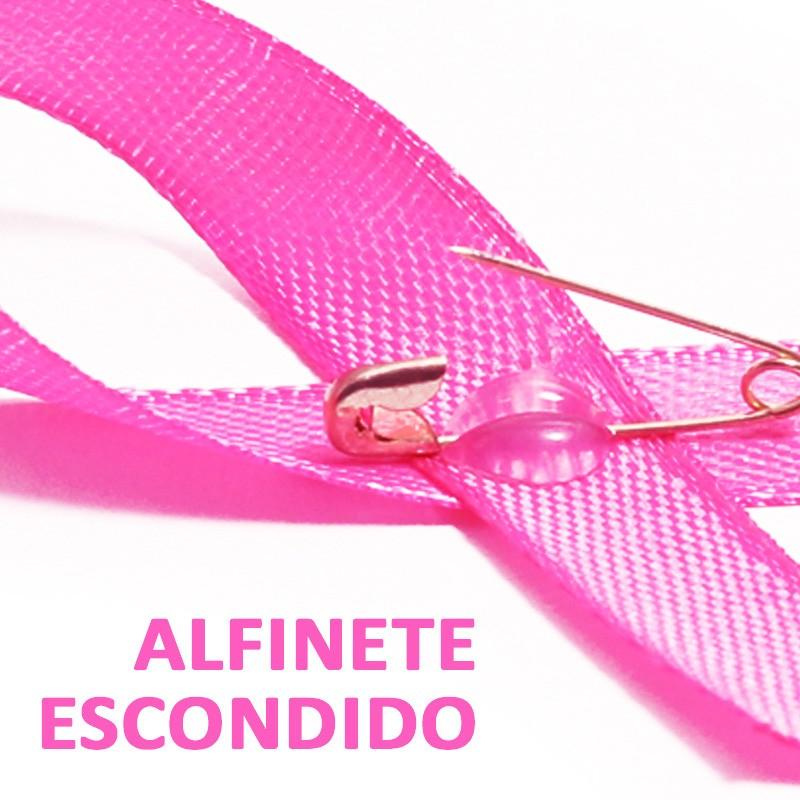 Laço Cetim Outubro Rosa personalizado com resina Ref.NV0010