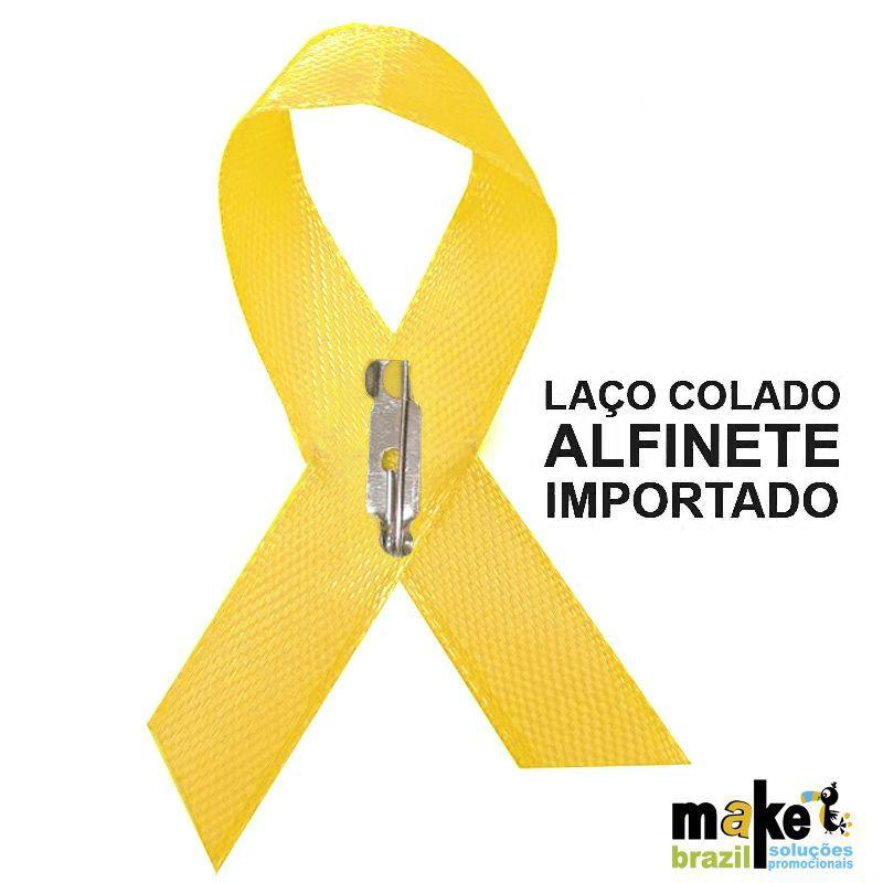 Laço Cetim Setembro Amarelo personalizado - cx c/ 100 - Ref.NV0028