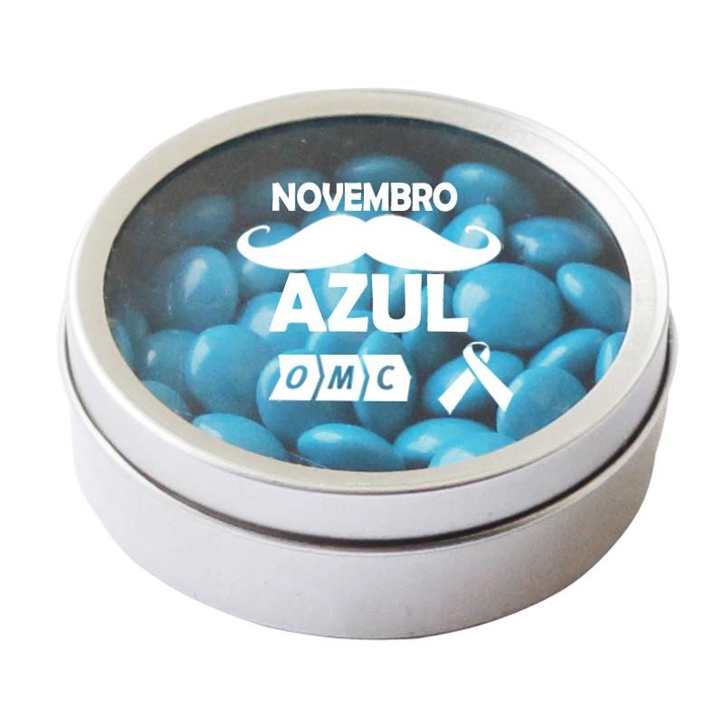 Lata com Visor 5,5x2cm - Novembro Azul Ref.0014981N