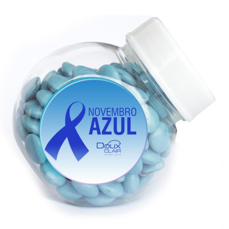 Mini Baleiro Novembro Azul com confetes de chocolate Ref.0014931N