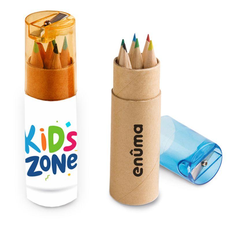Mini Lápis de Cor Ecológico Tubo c/ 6 e Apontador - Ref.0029325 - A partir de