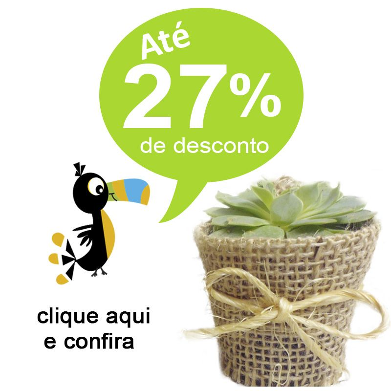 Mini Suculenta Vaso com Juta e Tag - Ref.0014784