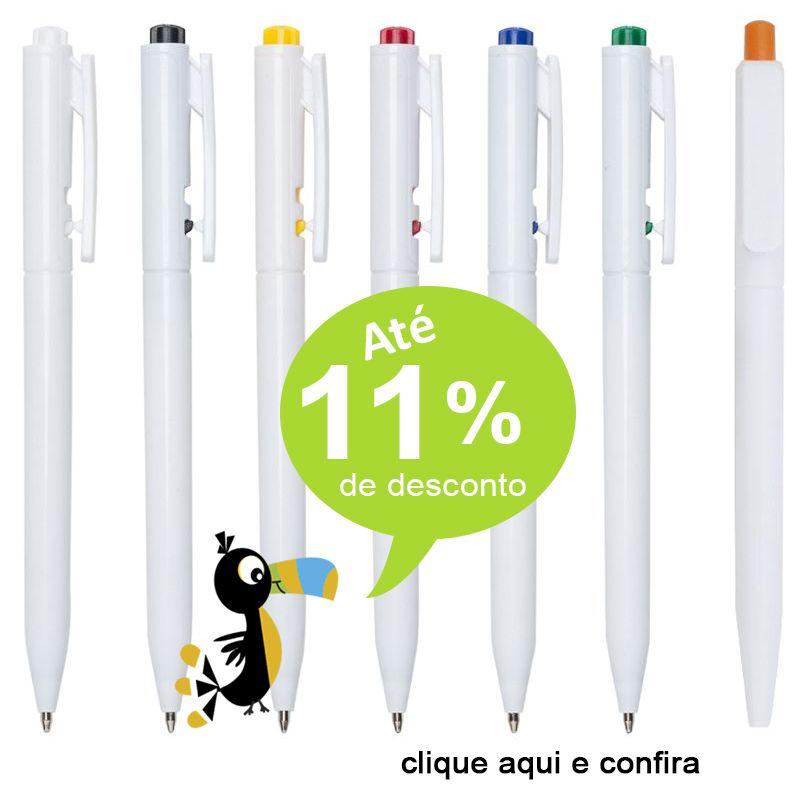 Palmas - Caneta Branca com Acionador Colorido - Ref. 0028250