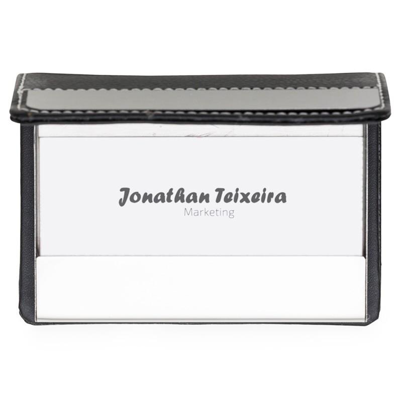 Porta Cartão couro sintético com chapa de aço escovado e costura branca - Ref.0029280