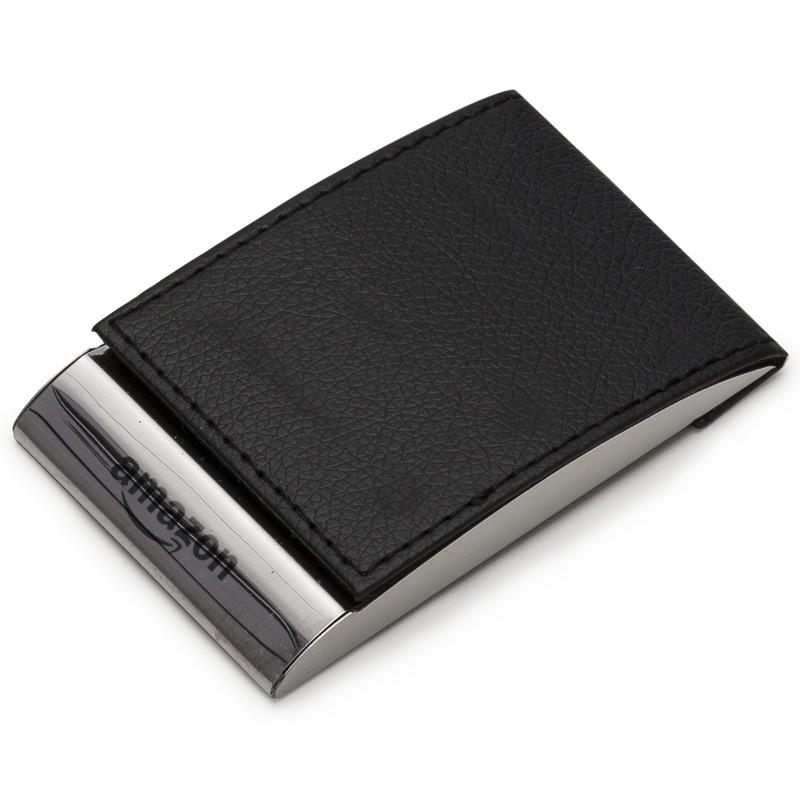 Porta Cartão couro sintético com detalhes em metal espelhado - Ref.0029225
