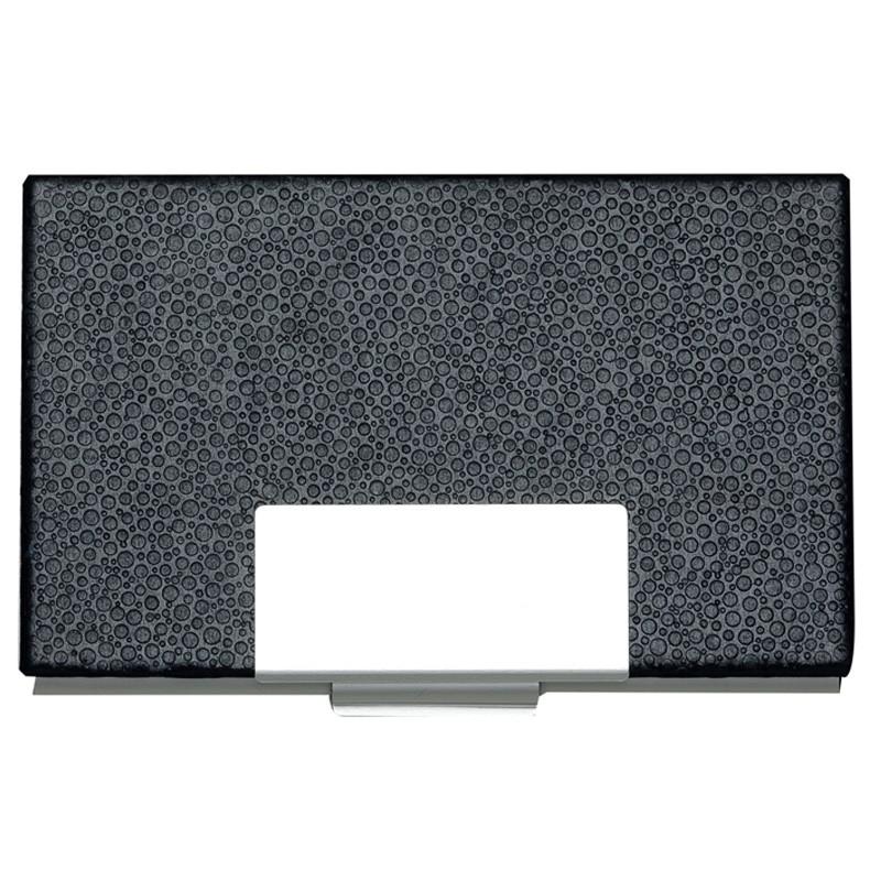 Porta Cartão couro sintético com detalhes prata - Ref.0029210