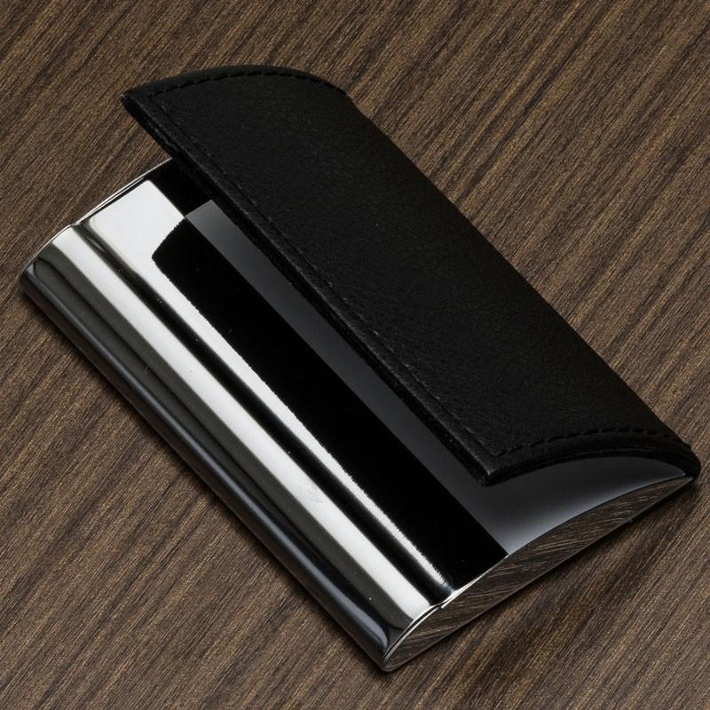 Porta cartão de metal com couro sintético Ref.0029190