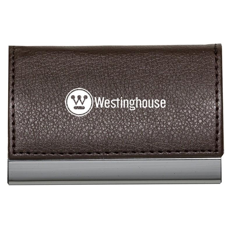 Porta Cartão  de metal detalhes em couro sintético - Ref.0029215