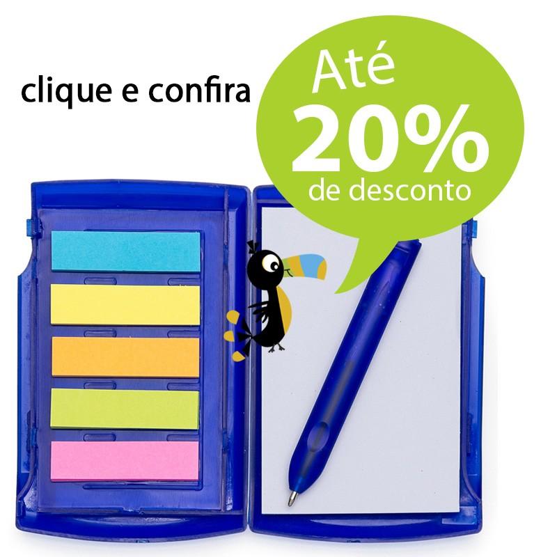 Porta Cartão de Visita com Post-It, Bloco e Caneta - Ref.0019085