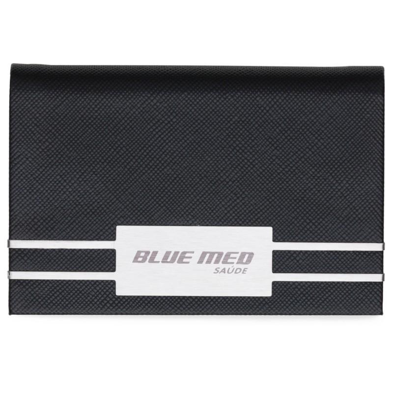 Porta Cartão em couro sintético texturizado com detalhes em metal brilhante - Ref.0029285