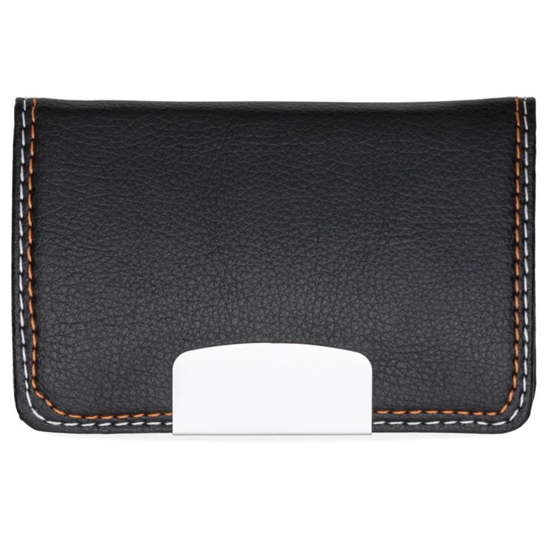 Porta Cartão em couro sintético texturizado com placa metálica brilhante - Ref.0029290