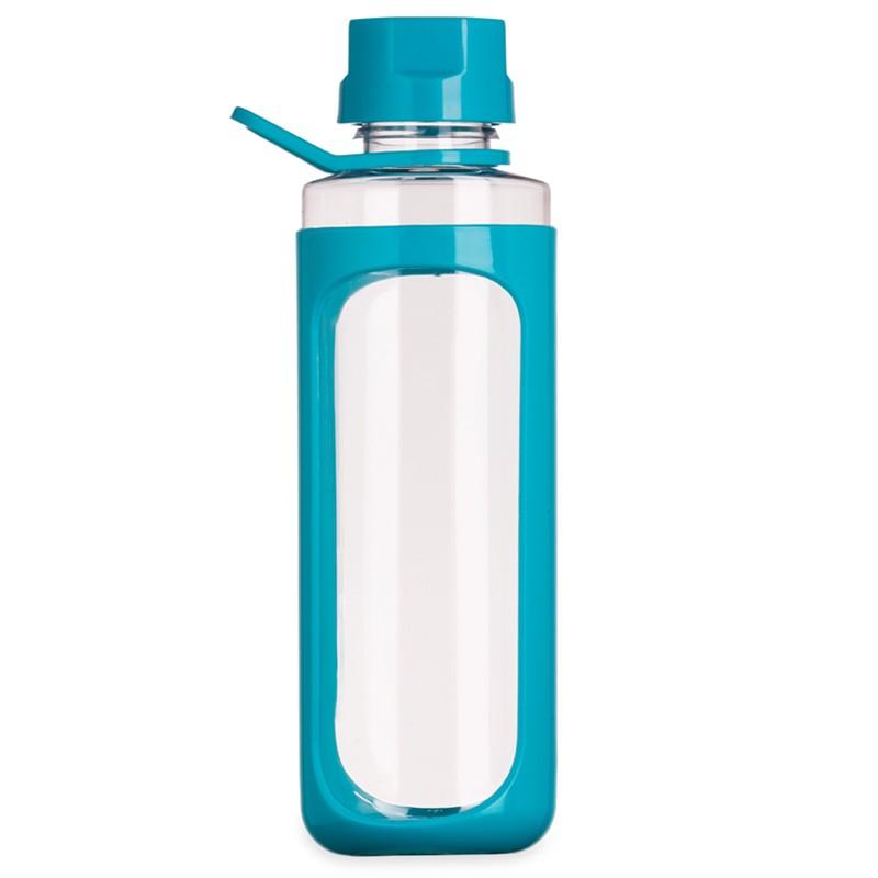 Squeeze plástico 650ml transparente com detalhes coloridos Ref.0018130