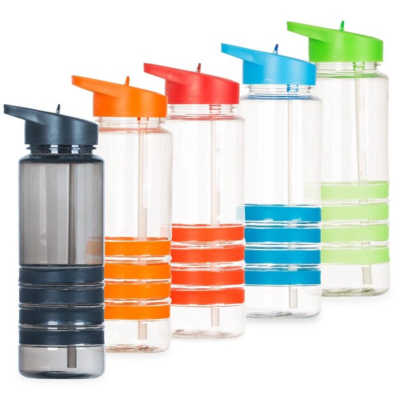 Squeeze Plástico Transparente 700ml com bico de canudo. Detalhes emborrachados coloridas Ref.0018120