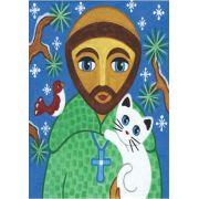 Poster reprodução de pintura São Francisco de Assis com um gato