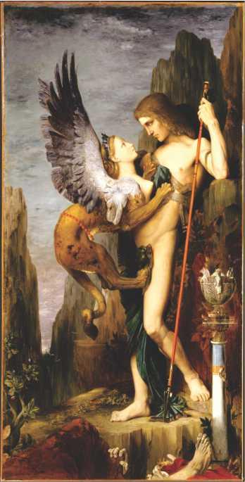 """Poster com a reprodução da pintura """"Édipo e a Esfinge"""" de Gustave Moreau"""