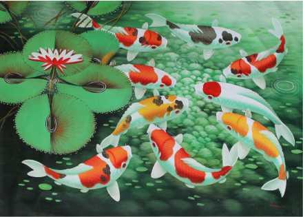 Poster Feng shui - 9 carpas coloridas