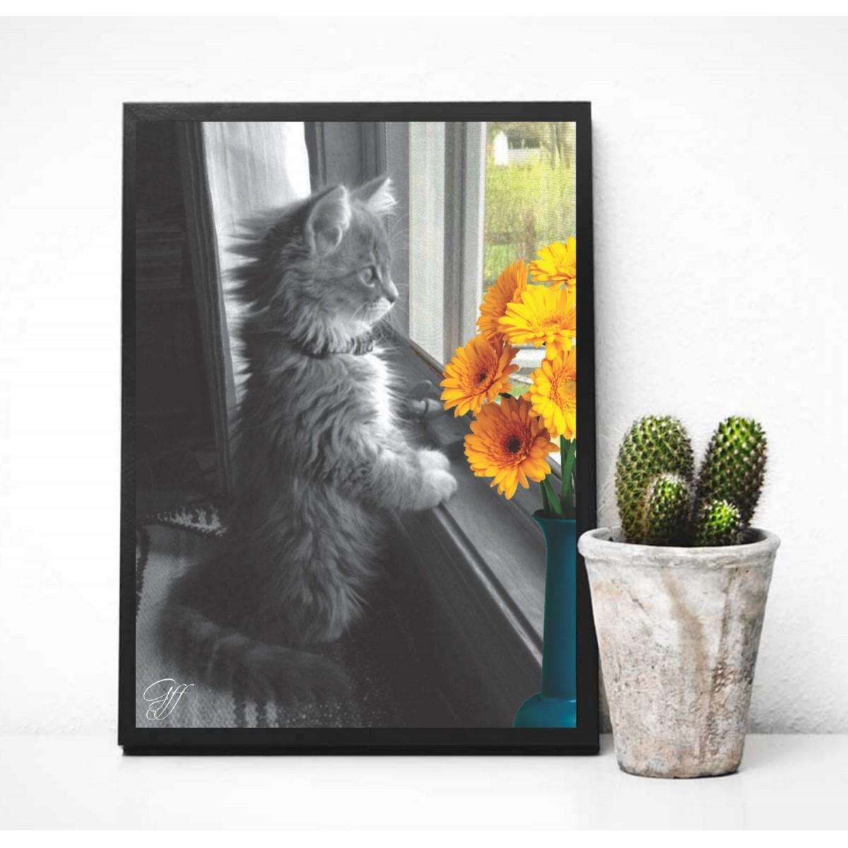 Poster Gato e Flores na Janela
