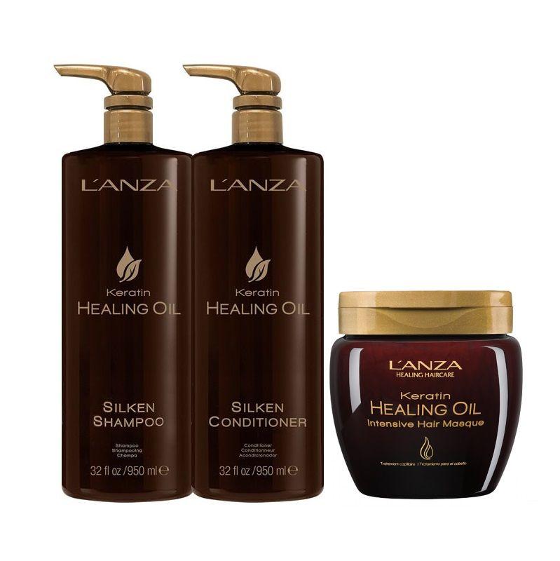 Lanza Keratin Healing Oil Kit 3 Produtos Profissionais