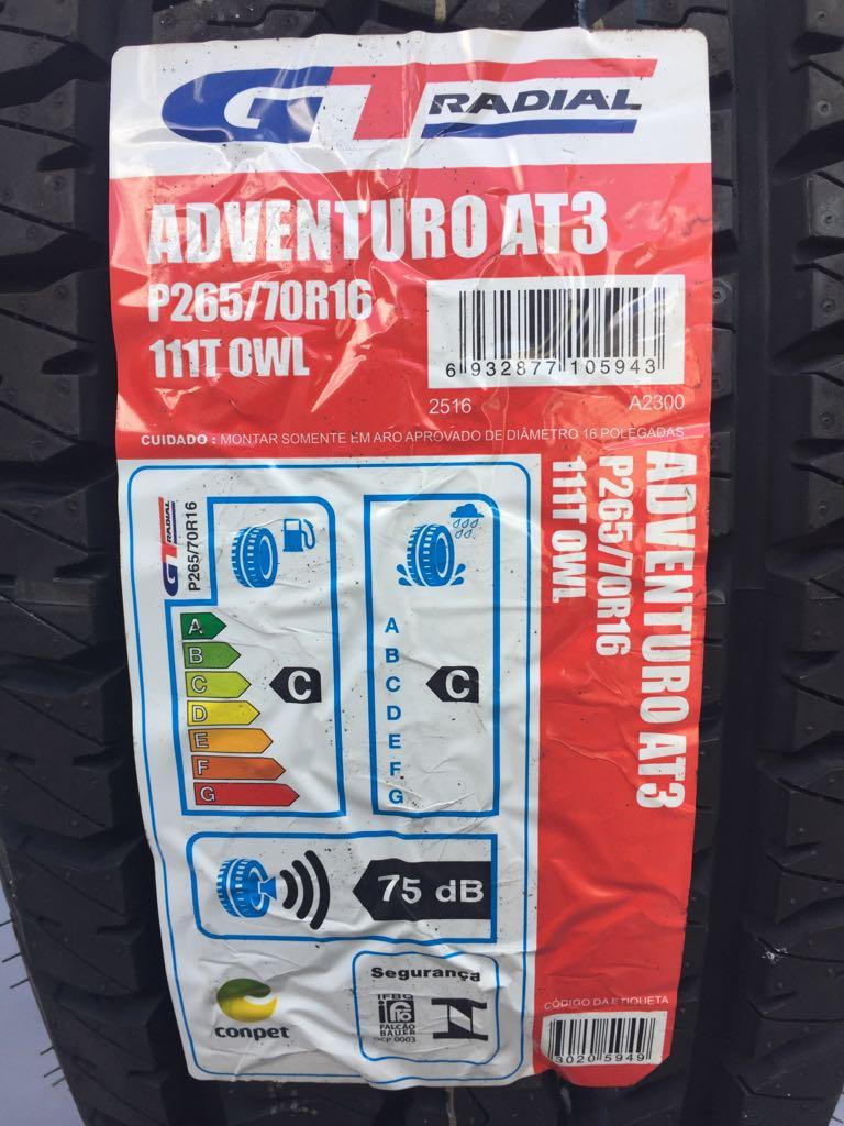 Pneu 265/70R16 GT Radial Champiro Adventuro AT3 OWL (Pajero, L200, Hilux)