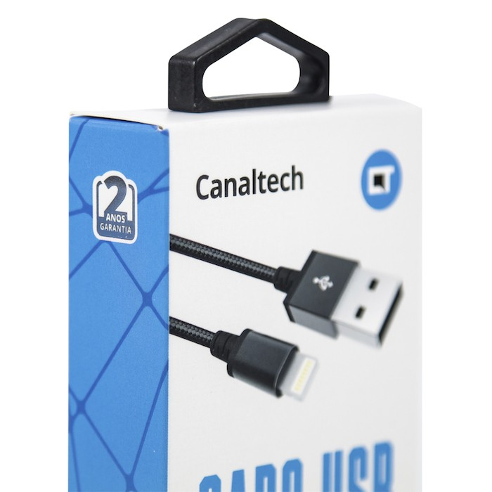 Cabo Canaltech USB Lightning MFI Nylon Preto 1,5m